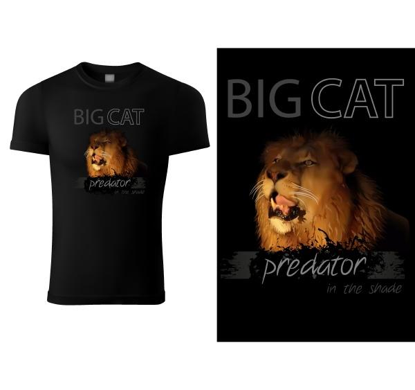 black, t-shirt, print, design, with, lion - 28215750