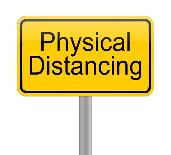 dystans, fizyczny, na, żółtym, znaku, - - 28217815