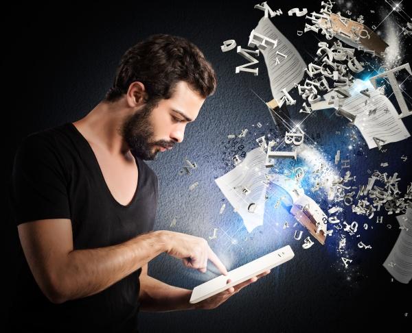 czytanie, książek, za, pomocą, e-booka - 29873843