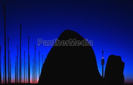 niebieski metropolia wieden rzezba wieczor abendstimmung