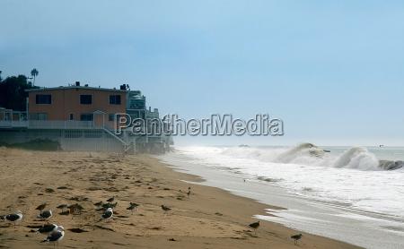 domy fale kalifornia pacyfik morskich morze