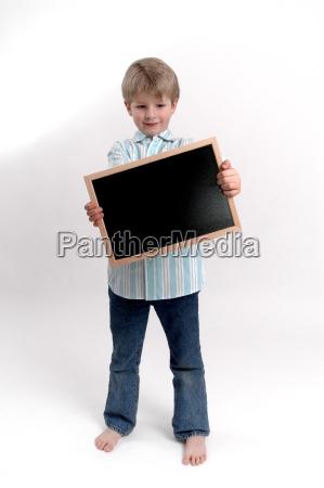 with a blackboard