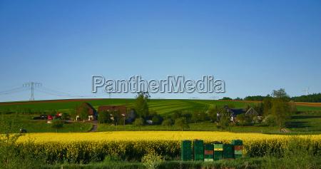 niebieski domy obszarow wiejskich obszar wiejski