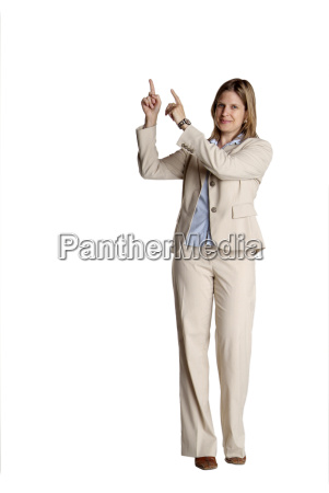 standing woman pointing