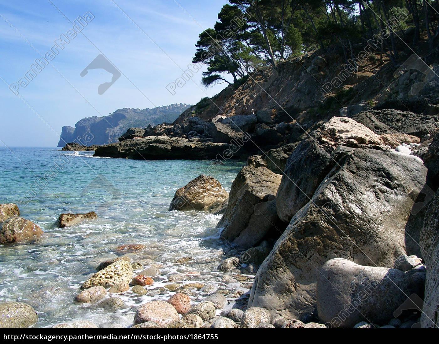 zatoka, kąpielowa, na, zachodnim, wybrzeżu, majorki - 1864755