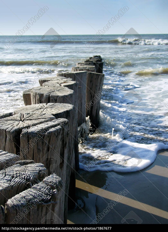 falochron, plaża, morza, północnego - 1867677