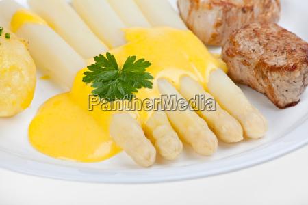 białe, szparagi, z, sosem, holenderskim - 2012841