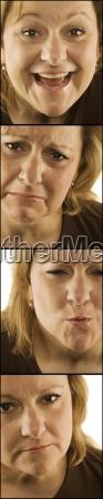 4 wizerunki kobiety z roznymi twarzami