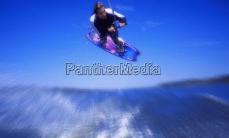 man wakeboarding coal lake alberta canada