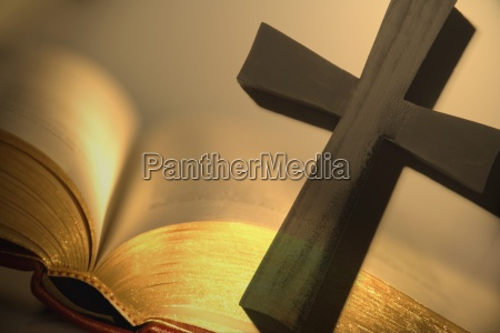cross with open bible
