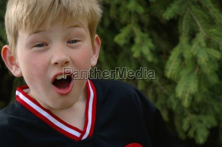 very surprised boy