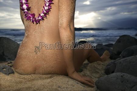 nude woman on beach