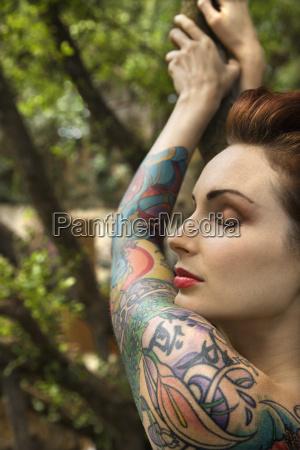 attractive tattooed woman