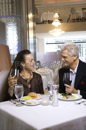 couple dining in nice restaurant
