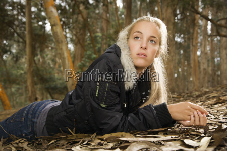 caucasian woman in forest