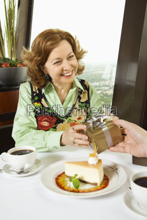 woman getting gift