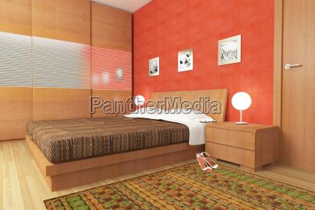nowoczesna sypialnia z drewna