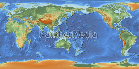 mapa swiata wysrodkowana na 150