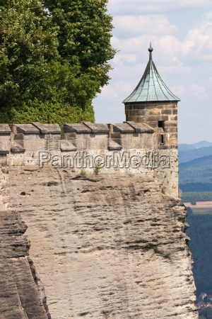 fortified wall with tower