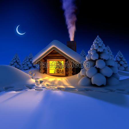 maly dom w lesie w noc