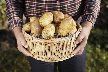 farmer holding a basket full of