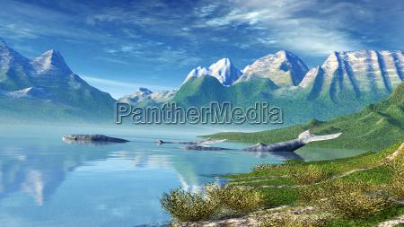 krajobraz morza z wieloryby