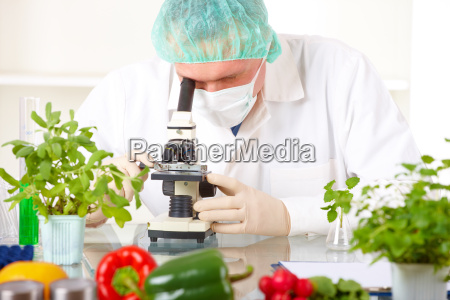naukowiec gore roslinnym gmo w laboratorium