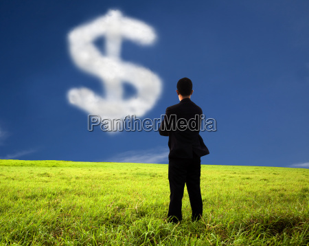 businessman thinking and watching the money