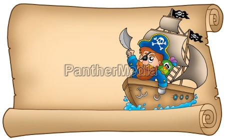 old parchment with pirate sailing on