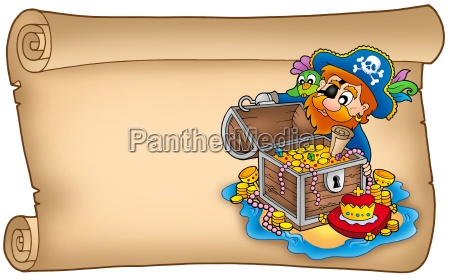 old scroll with pirate and treasure