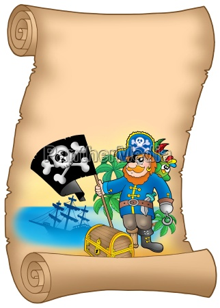 parchment with pirate holding flag