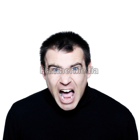 caucasian man screaming angry displeased portrait
