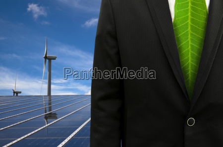 green business and eco energybussinessman with