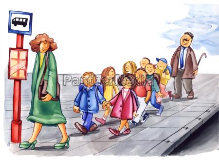 uprzejmi dzieci na przystanek autobusowy