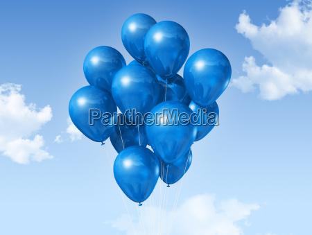 niebieski balonow na niebieskim niebie