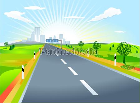 krajobraz, z, drogą - 4964689