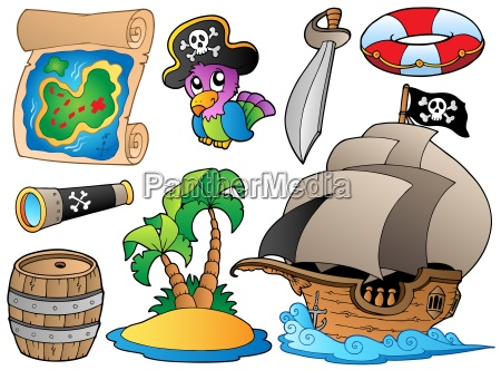 set of various pirate objects