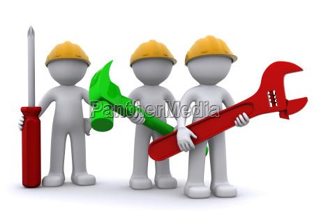zespol robotnik budowlany z urzadzenia
