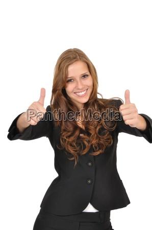 businesswoman w garnitur z dwoma kciukami