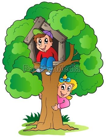 drzewo z dwoch kreskowek dzieci