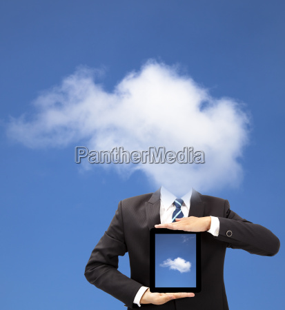 businessman with cloud thinking concept and