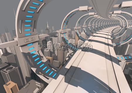 futurystyczny most miejski