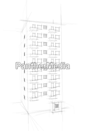 wild sketch of tenement in white