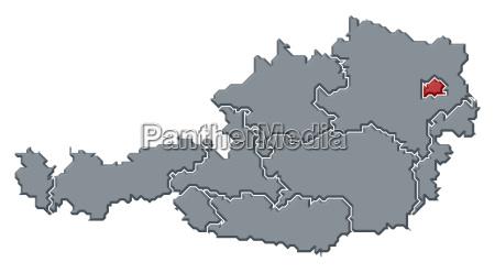 map of austria vienna highlighted