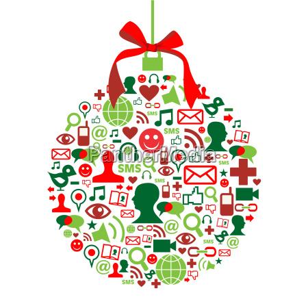 christmas bombka z mediow spolecznych ikony