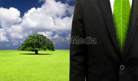 green business conceptbusinessman with leaf tie