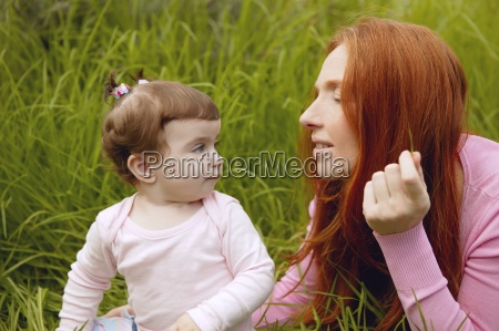 beautiful mother and baby little girl