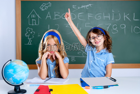 clever nerd student girl in classroom