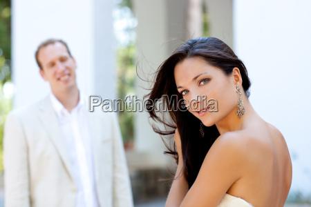 happy beautiful woman portrait with man