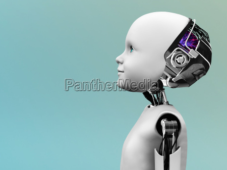 dziecko glowa robota w profilu